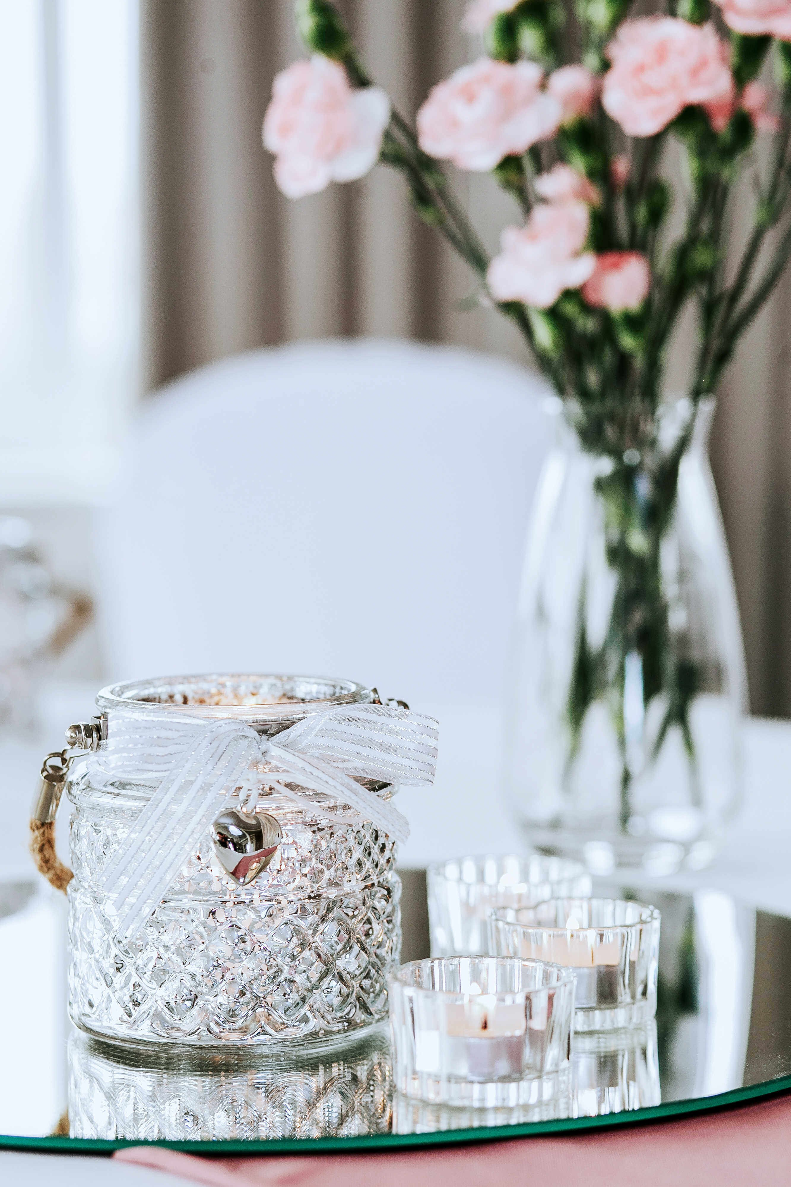Świecznik srebrny słoiczek ze sznurkiem